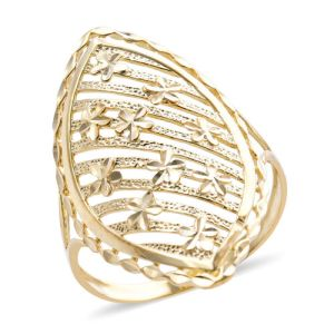 Diamond Cut Floral Ring in 9K Yellow Gold