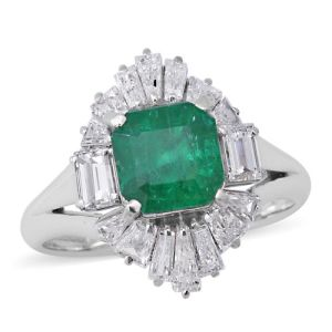 AAAA Boyaca Colombian Emerald and Diamond Halo Ring