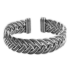 Braided Cuff Bangle in Sterling Silver