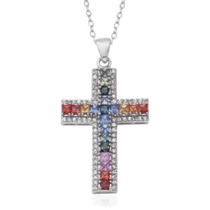 Rainbow Sapphire, Natural Cambodian Zircon Cross Necklace