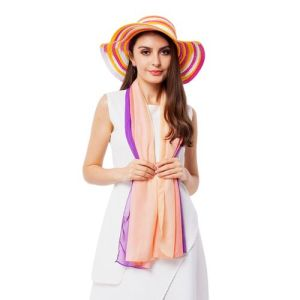 Purple, Pink and Multi Colour Stripe Pattern Scarf with Matching Hat