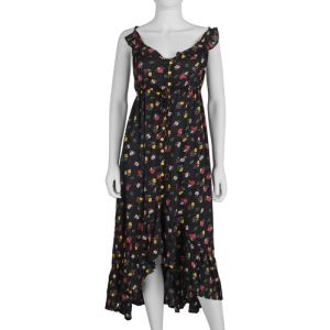 Dress with Drawstring Over Waistline in Black and Multicolour