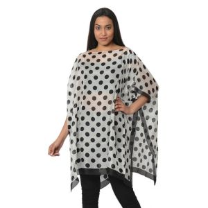 100% Mulberry Silk Kaftan  - Black and White