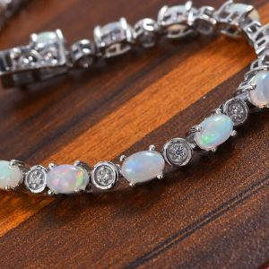 Ethiopian Opal and Zircon Tennis Bracelet in Platinum Plated Sterling Silver