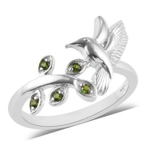 Russian Diopside Kingfisher Bird Ring in Platinum Plated Sterling Silver