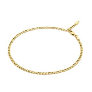 Adjustable Curb Chain Anklet 9 with 1 inch Extender in 9K Yellow Gold