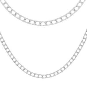 Sterling Silver Diamond Cut Square Curb Chain