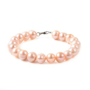 Children's Silver Bracelet in Peach Freshwater Pearl with Lobster Lock in Size 6 Inch