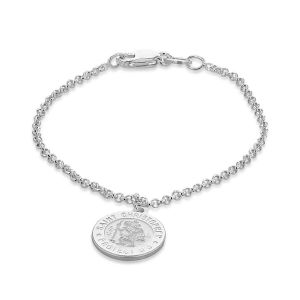 St Christopher Disc Charm Child Bracelet in Sterling Silver Size 5.5 Inch