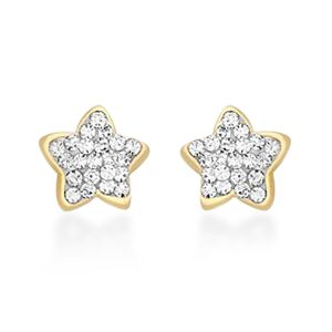 Children's Simulated Diamond Star Stud Earrings in 9K Gold