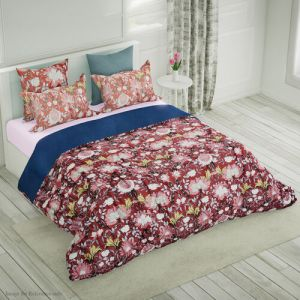 4 Piece Set - Mulberry Silk Quilt with Cotton Printed Cover, 2 Pillow Cases and Cushion Cover