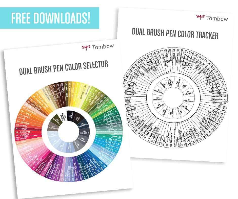 Free Downloads! New Tombow Dual Brush Pen Color Tools - general color chart template