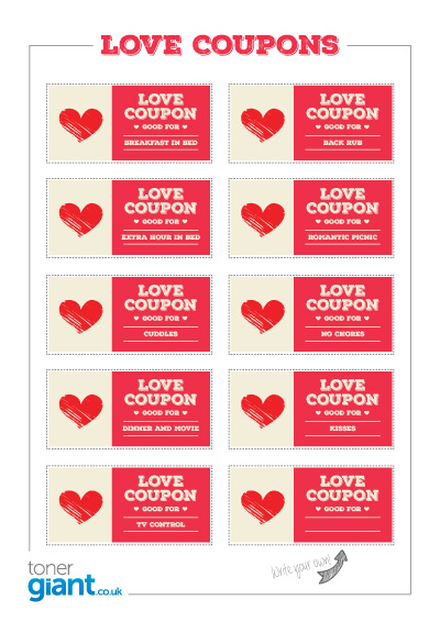 Valentines Day Love Coupons - Toner Giant