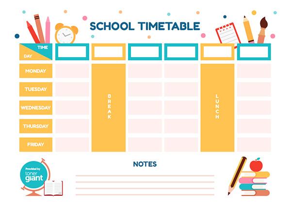 Fun Timetable Template - Toner Giant