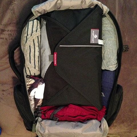 Packing folder in a Tortuga Travel Backpack