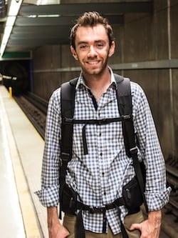 Tortuga Travel Backpack in LA subway