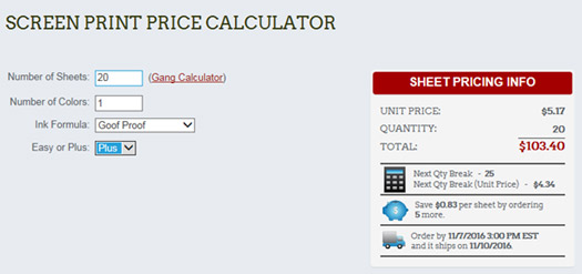 Using The Screen Printed Transfer Calculator - product pricing calculator