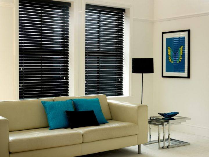 Lacquered Black Wooden Blind