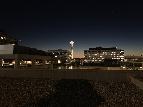 The last glow of sunset over the Olympics behind a brightly lit Space Needle as seen from our South Lake Union rooftop.