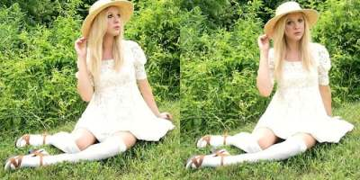 Cotton Knee high socks in white with sandals & a wide brim hat make perfect summer look!