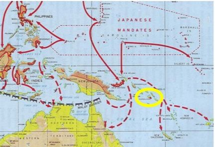 Japanese plans to isolate Australia (Operation FS) (Guadalcanal in yellow circle)