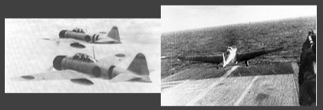 A6M2 Zeroes with drop tanks (left) and B5N2 Kate taking off from Shokaku (right)