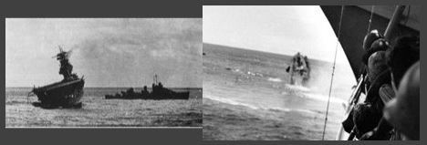 USS Hammann (DD-412) by stricken Yorktown (CV-5) Hammann seen sinking after Japanese torpedo hit