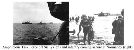 Amphibious Task Force off Sicily (left) and infantry coming ashore at Normandy (right)