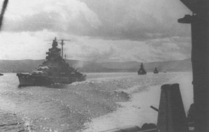 Tirpitz leads cruisers Admiral Hipper and Admiral Scheer to sea in Operation Rosselsprung