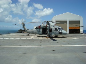 One of two helicopters on COMFORT's flight deck.