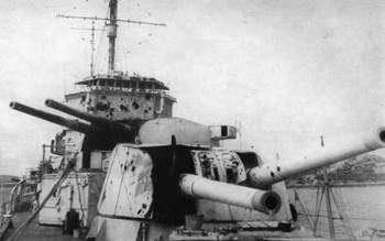 Damage to HMS Exeter A and B Turrets