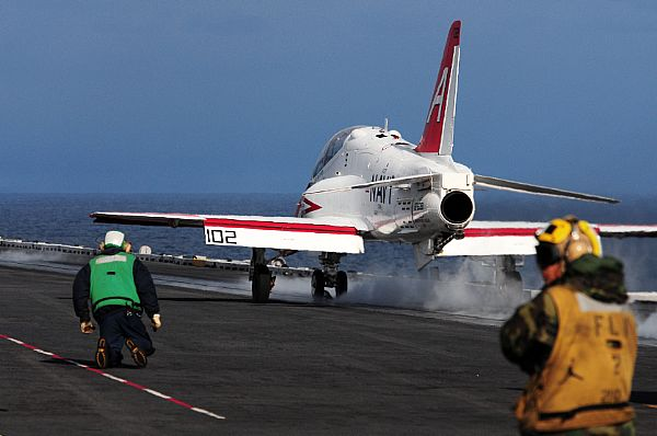 A T-45 Conducts Carrier Qualifications aboard RONALD REAGAN