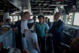 Prime Minister Yatsenuik meets Ensign Audrey Petro, Communicator, onboard USS Donald Cook