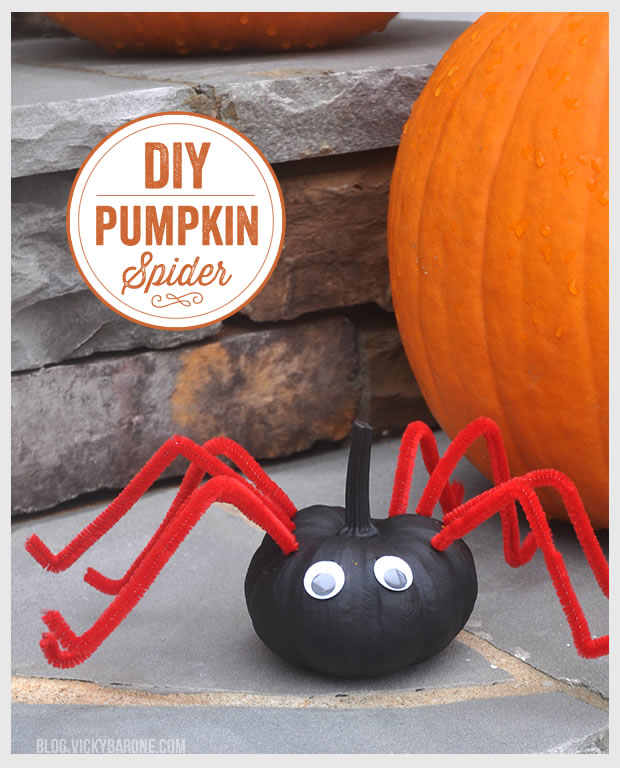 DIY Pumpkin Spider - Halloween Crafts for Kids by Vicky Barone