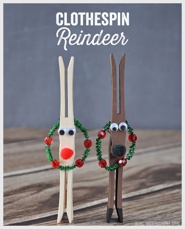 DIY Clothespin Reindeer | Vicky Barone