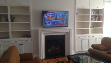 TV wall mount installation with wire concealment