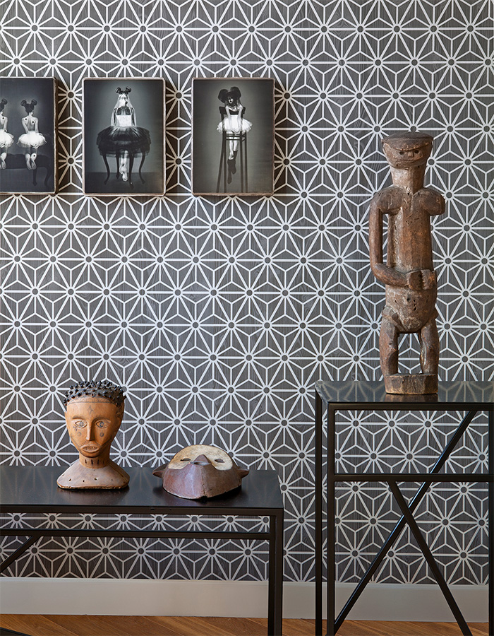 Optical Illusion Black Geometric Wallpaper by Walls Republic R2245