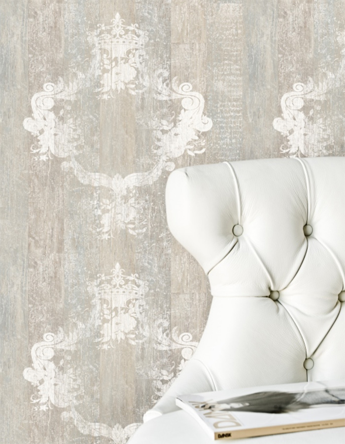 Serenity Mahagony Damask Faux Wood Wallpaper R1368