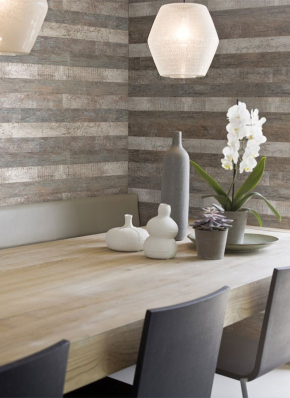 Timber Brown Contemporary Faux Wood Wallpaper R1357