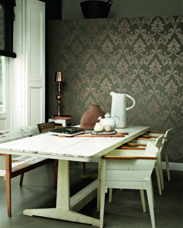 Miss Passion Grey Damask Wallpaper R1459