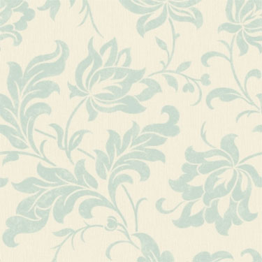Adeline Duck Egg Contemporary Floral Retro Wallpaper R1872
