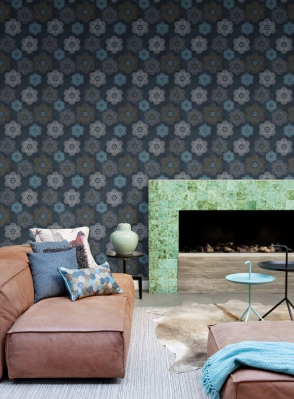 Floral Medallion Denim Floral Living Room Wallpaper R1903