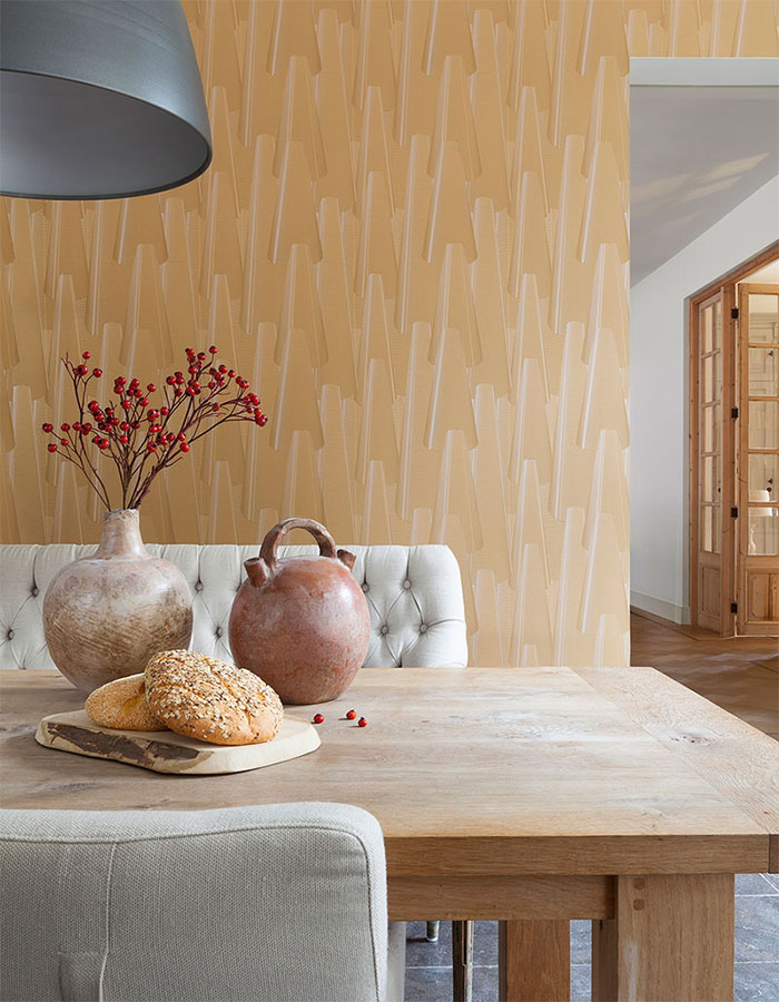 Ochre Cone Contemporary Dining Room Wallpaper R2292