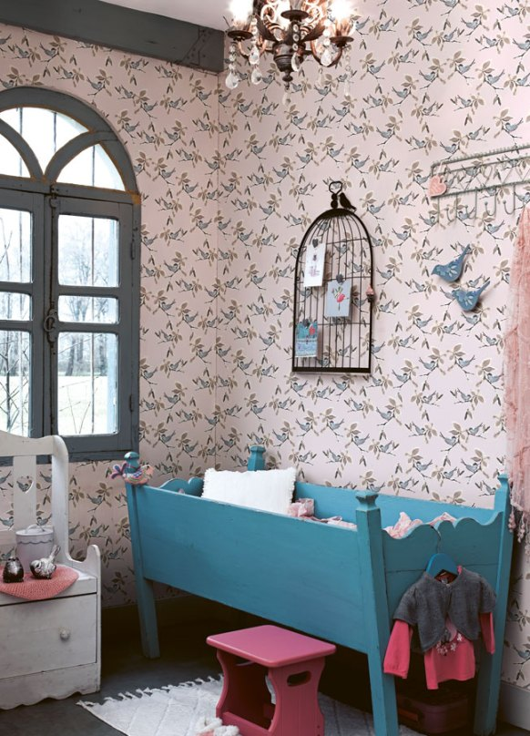 Pink Dwell Bird Wallpaper for Bedroom R2316