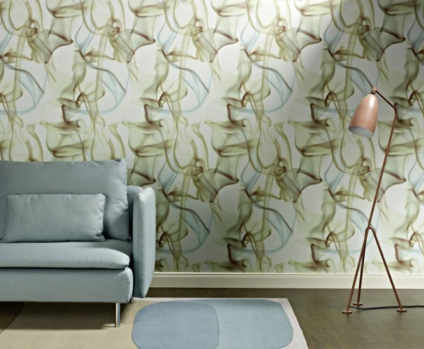 Blue-Green Vapor Contemporary Living Room Wallpaper R2502