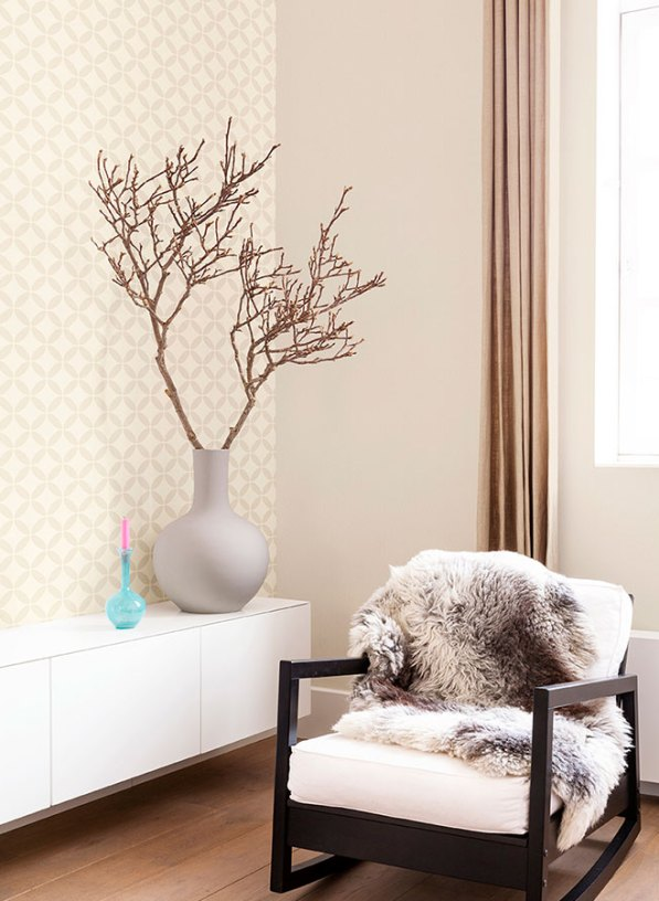 Beige Evolve Contemporary Geometric Wallpaper for your Living Room R2539