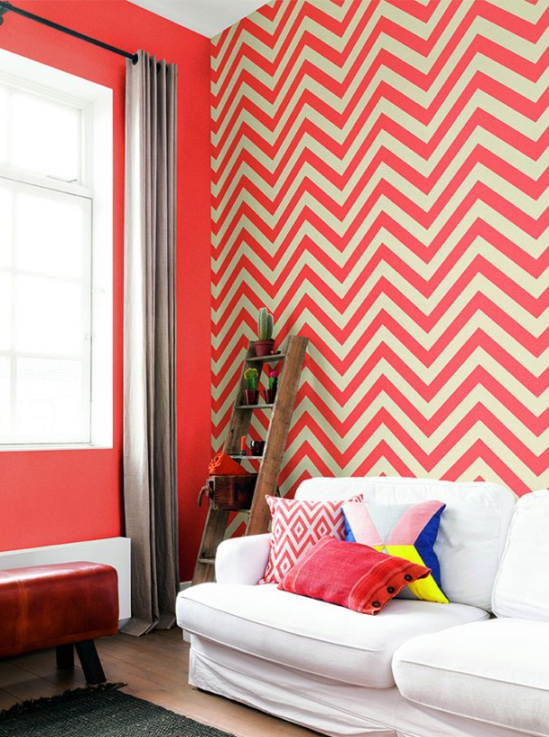 Coral Chevron Stripe Contemporary Wallpaper R2555