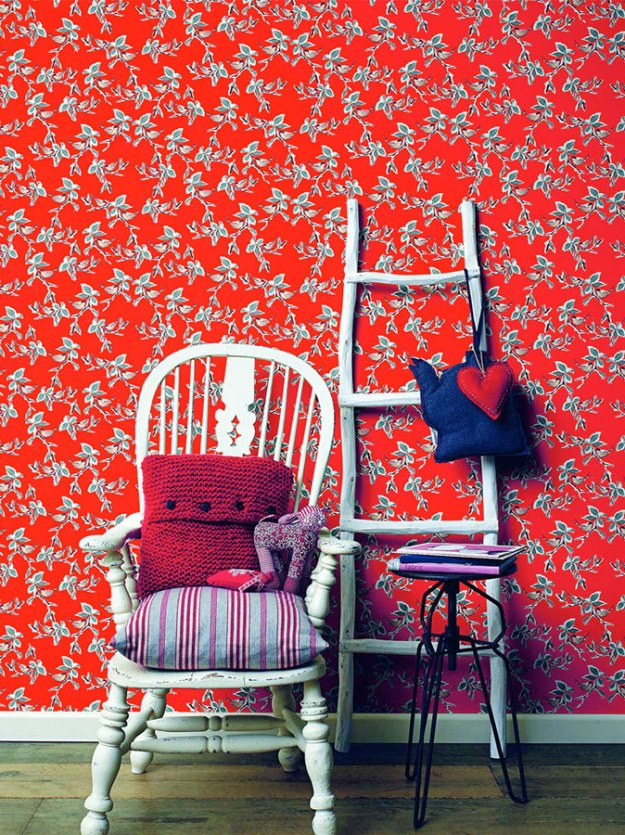 Carmine Dwell Floral Bird Wallpaper R2313