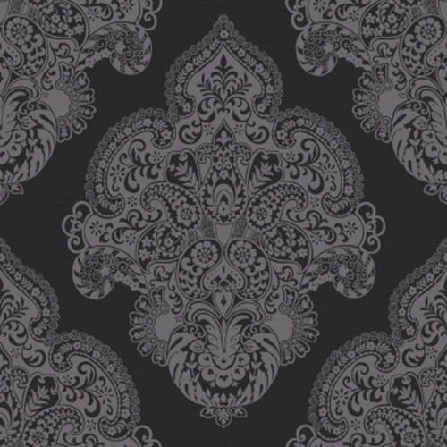 Spring Bud Charcoal Damask Wallpaper R1728