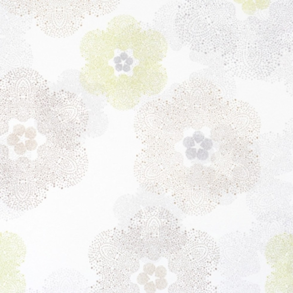 Floral Medallion White and Green Kid's Floral Home Wallpaper R1902